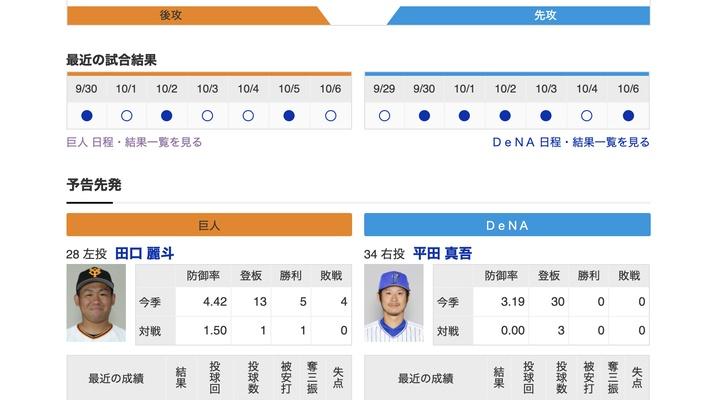 【巨人実況!】vs DeNA(17回戦)![10/7] 先発は田口!捕手は大城! 3番ウィーラー !