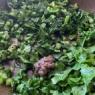大根の葉っぱでジェノベーゼ風とカリカリ豚バラ肉キタッラ