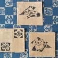 会津型染め(色差し)手織りコースター