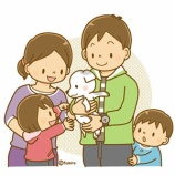 『【クリップアート】仔犬と家族のイラスト』の画像