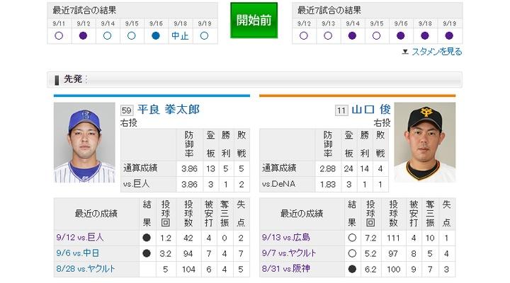 【 巨人実況!】vs DeNA![9/20]  先発は山口俊!捕手は小林!