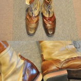 『ブーツのクリーニングと色修正のメンテナンス。色やけ&傷が激しかったブーツでしたが、なかなか綺麗に仕上がりました。』の画像