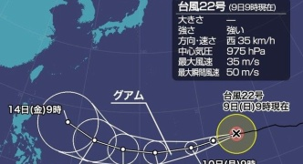 台風22号「マンクット」が強い勢力に。今年最強の台風に発達か