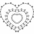 モノクロ装飾枠 ハートフレーム3連