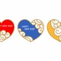 ハッピーニューイヤーの文字が入った3色のハートマーク