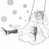 『女子がブランコ乗っている絵_(線画)』の画像
