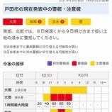 『戸田市に大雨警報発令中。台風の接近に伴い、本日8日21時頃から明日9日の明け方にかけて大雨が予想されています。最新情報は、Yahoo!天気・災害をチェックください。』の画像