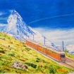 色鉛筆画「スイス登山電車」