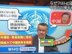 WHO「中国の対応は完璧。歴史に残る積極的な封じ込め対策だった。日本のせいで世界に拡散してる」