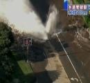 【画像】 水不足の米ロサンゼルスで水道管破裂 1千万ガロンの水があふれ名門UCLAも水浸し