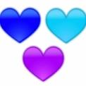 ぼやけたハートマーク 水色・青・紫