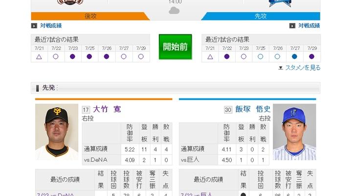 【 巨人実況!】vs DeNA(17回戦)!先発は大竹!14:00~