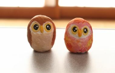 『紙粘土でフクロウ貯金箱作りました【作り方】卵のフクロウもあるよ』の画像