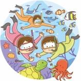 『【クリップアート】ダイビングをする親子のイラスト』の画像