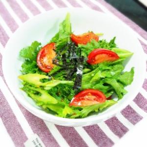 オイルを使わない わさび菜のサラダ