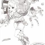 『走ってる女子らの絵_(線画)』の画像