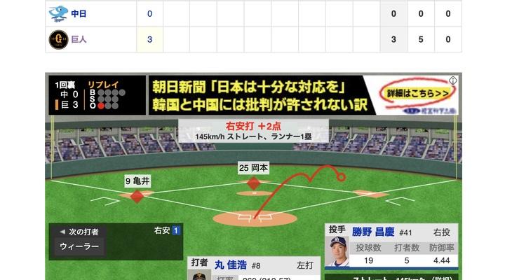 【動画】<巨人×中日 15回戦> 巨人・丸、タイムリーで2点追加!【巨3-0中】