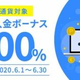 『ハイブリッド仮想通貨FX取引所「FXGT」が、2020年6月一杯に初回入金100%ボーナス実施!』の画像
