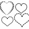 ギザギザした装飾線のハート枠 黒単色