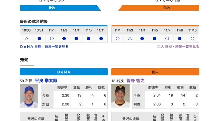 【巨人実況!】vs DeNA(24回戦)![11/14]  先発は菅野!捕手は大城!