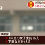 『【悲報】 女子中学生16人のパンティーやブラなど43点が盗まれる』の画像