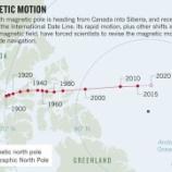 『地球の磁極の急速な動き』の画像