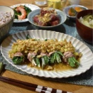 【水菜の肉巻きクルミ香味ダレ】#レンジで一発#ヘルシー#香味野菜#時短#簡単 …今日も内容重視の晩ごはん。