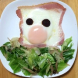『食パンがなかったので朝食は目玉焼きと野菜炒め!』の画像