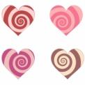 渦巻き模様のハートマーク素材 ピンクや茶色