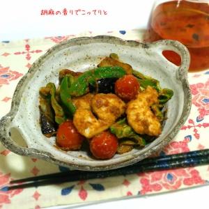 あっさりしつつもコクがある!鶏むね肉と野菜の練りごま炒め