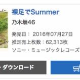 『【乃木坂46】『裸足でSummer』オリコン2日目は62,313枚!累計662,417枚を記録!!』の画像