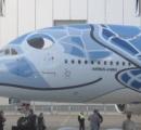 全日空のA380公開 世界最大級の旅客機 ハワイ便に導入へ ウミガメのデザイン