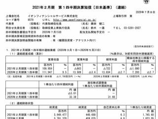 イオンフィナンシャルサービス 2021年2月期第1四半期決算