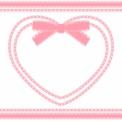 リボンハートフレームとライン ピンク