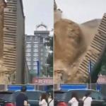 【動画】中国、西安市にある600年前の王宮遺跡の城壁が突然、崩落!その瞬間