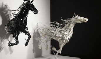 廃材プラスチック製品で作り上げる斬新アート 馬が壁から飛び出る?