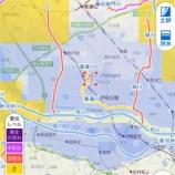 『10月25日午前11時20分時点。洪水警報が出ている戸田市ですが、さいたま市から流れる笹目川と川口市から流れる緑川で水位が上がっています。警戒してください。』の画像