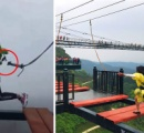 中国の山頂にある絶叫テーマパークで命綱が外れるトラブル 「え、演出映像」と意味不明な説明