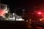 車から火が出て警察や消防が来てたみたい〜河内森駅近くの道沿いのところ〜