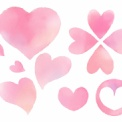 フリー素材 水彩風の手描きピンクハート