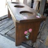 『一枚板のベンチ、ワンちゃんのご飯台』の画像