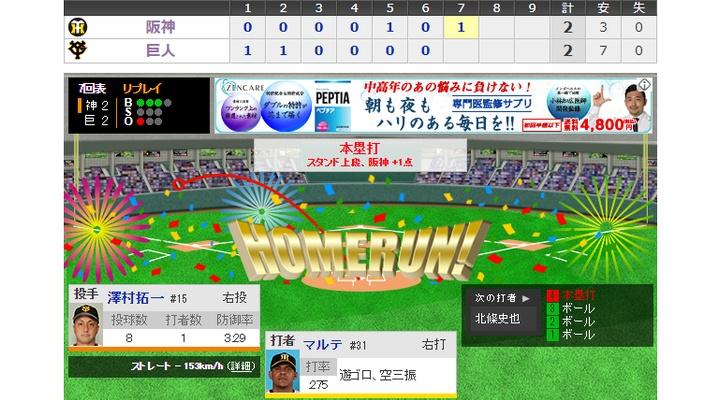 <巨人×阪神 7回表> 澤村、マルテに同点HRを浴びる・・・[巨2-2神]