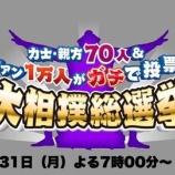 『「大相撲総選挙2017結果」テレビでファン1万人がガチで投票した結果を公開【画像】』の画像