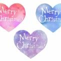 メリークリスマスの手書き文字が入った水彩風ハート素材