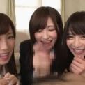 小島みなみ 天使もえ 葵つかさ の3人が全力でフェラ&リップサービス