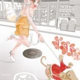 『犬の散歩をする女子の絵』の画像