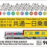 『「東京メトロ・都営地下鉄 共通一日乗車券」がお求めやすくなります!【2017年4月1日(土)~】』の画像