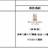 『ジャパンエクセレント投資法人  DBJ Green Building認証取得物件の評価向上』の画像