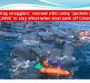 麻薬密輸船がサメ出没海域で難破:密売人らはコカインの包みにつかまって浮いていたため助かる
