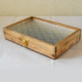 0310≪木製マスクケース≫国産ひのきとレトロガラスのコレクションケースLサイズ(花柄フローラガラス)